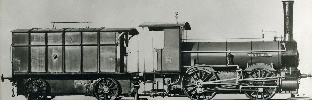 """Die Lokomotive Nr. 8 """"MÜNSTERLAND"""", gebaut 1867 von Krauss in München mit der Fabriknummer 3."""