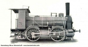 """Die Lokomotive Nr. 11 """"LANDWÜHRDEN"""" war die erste von Krauss in München gebaute Lokomotive."""