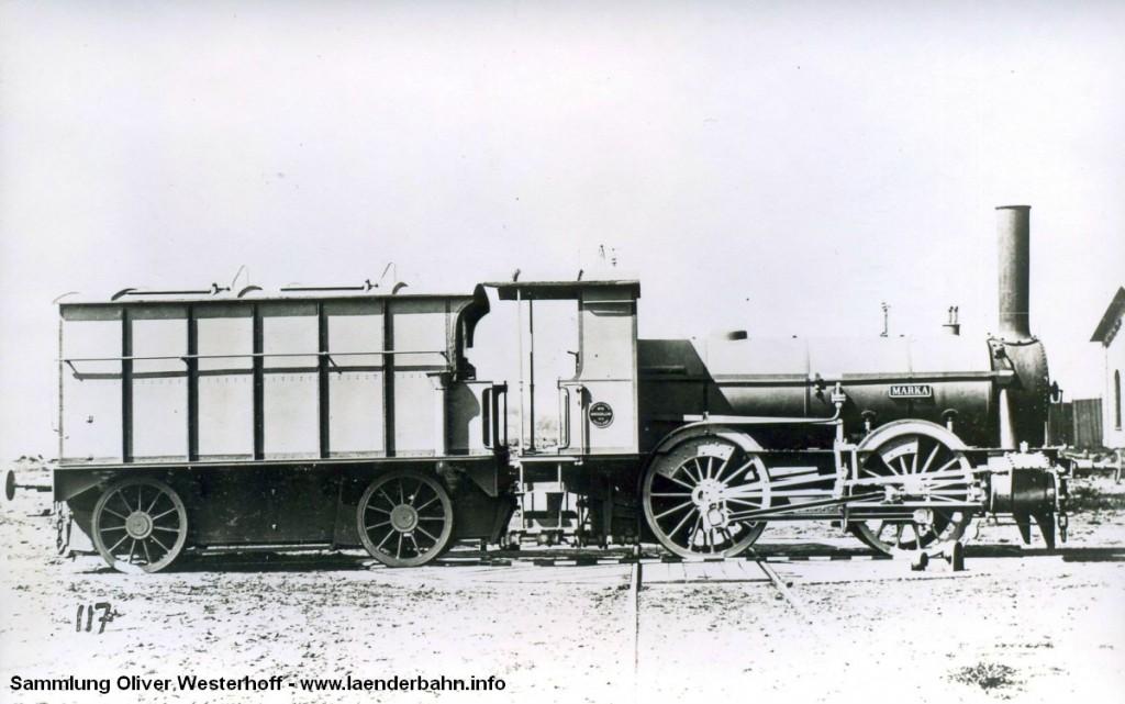 """Die Lokomotive Nr. 34 """"MARKA"""", gebaut 1876 von Hohenzollern in Düsseldorf mit der Fabriknummer 29. Im vorläufigen Umzeichnungsplan erhielt die """"MARKA"""" zwar noch die Nummer 51 7008, ob es jedoch zu der Umzeichnung kam ist zweifelhaft, die Maschine wurde zwischen 1923 und 1925 ausgemustert."""