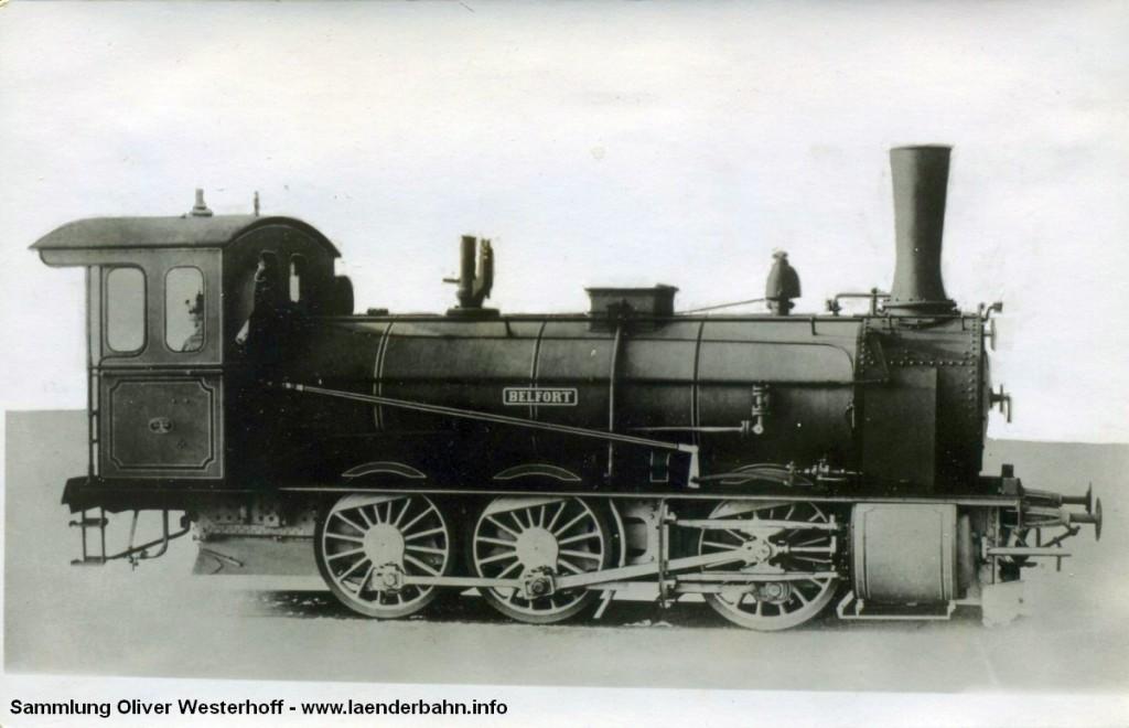 """Die Lokomotive Nr. 158 """"BELFORT"""", gebaut 1903 bei HANOMAG unter der Fabriknummer 4108"""