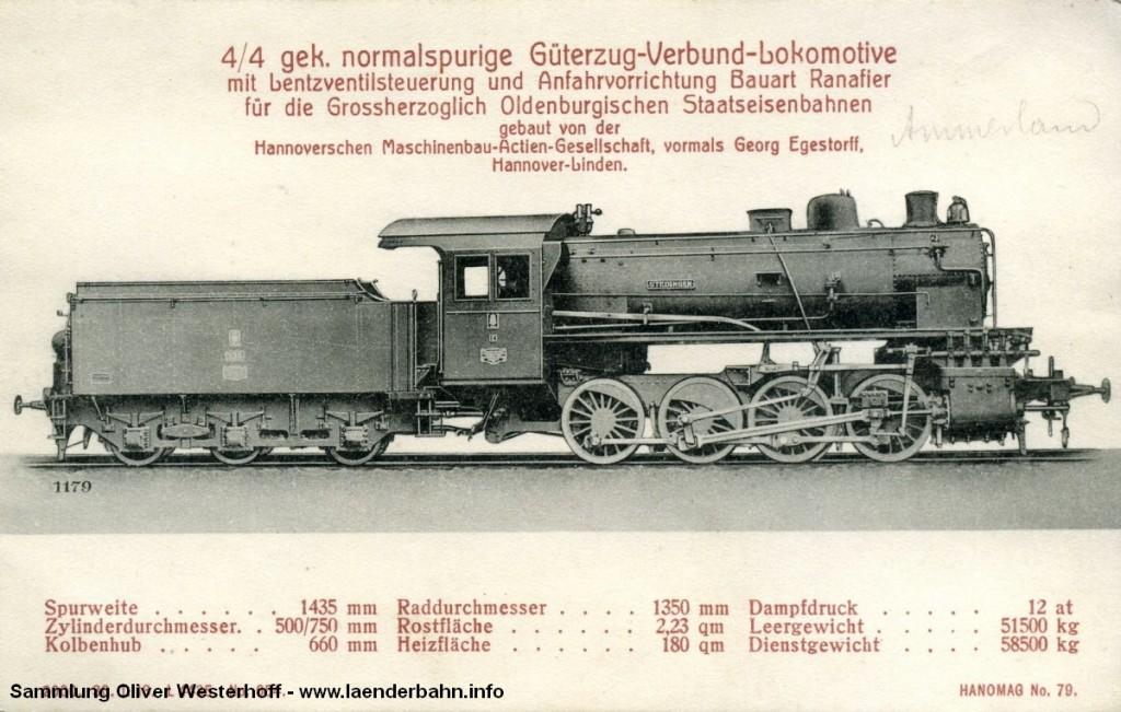 """G 7 Nr. 235 """"STEDINGEN"""" auf einer Ansichtskarte der Hanomag"""