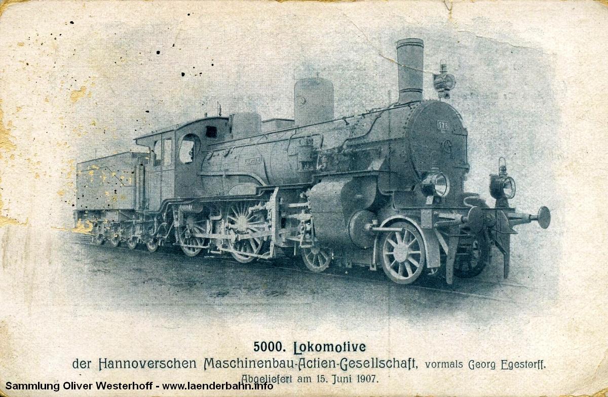 """Die Lokomotive Nr. 178 """"JUPITER"""", gebaut 1907 bei HANOMAG unter der Fabriknummer 5000"""