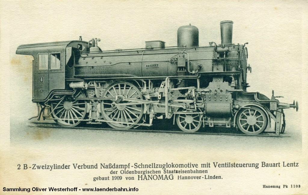 """S 5.2 Nr. 205 """"FRIGGA"""" auf einer Ansichtskarte der Hanomag."""
