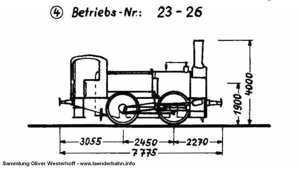 Hier eine Skizze der T 1, wie sie aus der G1 umgebaut wurde. Quelle: Krauth: Dampflokverzeichnis der Oldenburgischen Staatsbahn, 1968