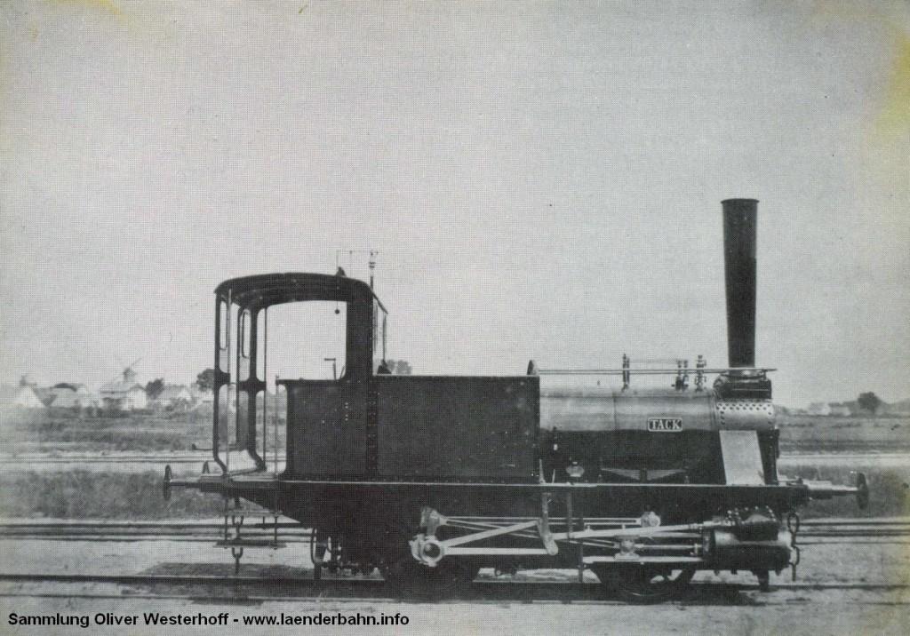 """Die Lokomotive Nr. 57 """"TACK"""", gebaut 1873 in den Eisenbahnwerkstätten Oldenburg mit der Nummer 8"""