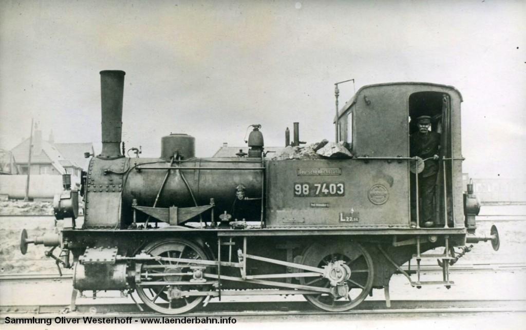 """T 1.2 Nr. 80 """"WELLE"""" bereits mit der Reichsbahnnummer 98 7403"""