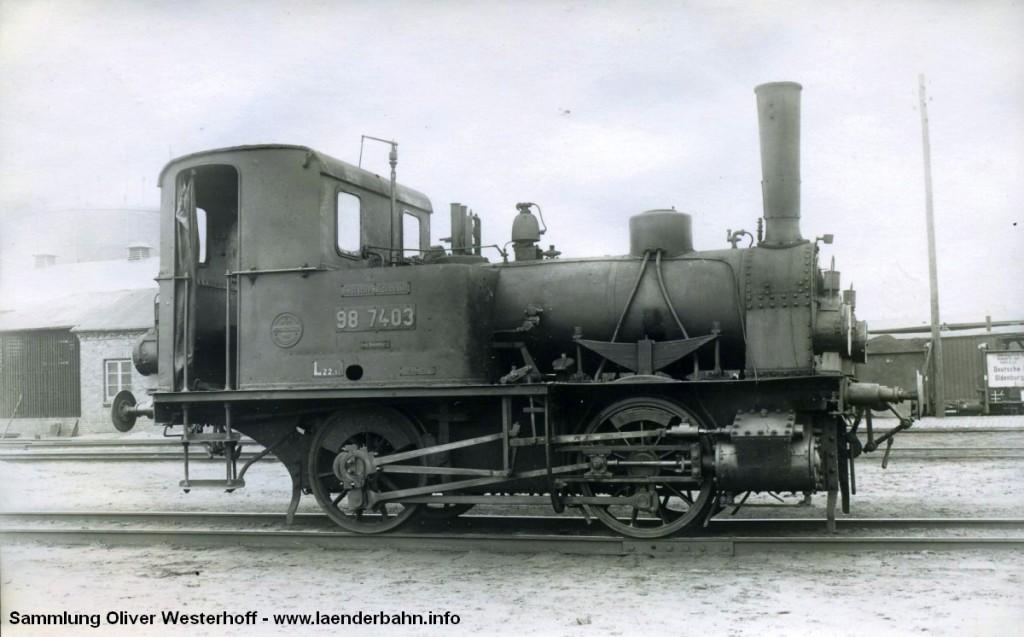 """T 1.2 Nr. 80 """"WELLE"""" mit der Reichsbahnnummer 98 7403"""