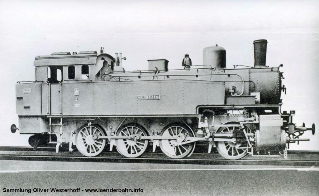 """Die Lokomotive Nr. 221 """"HERKULES"""", gebaut 1911 bei HANOMAG unter der Fabriknummer 6223"""