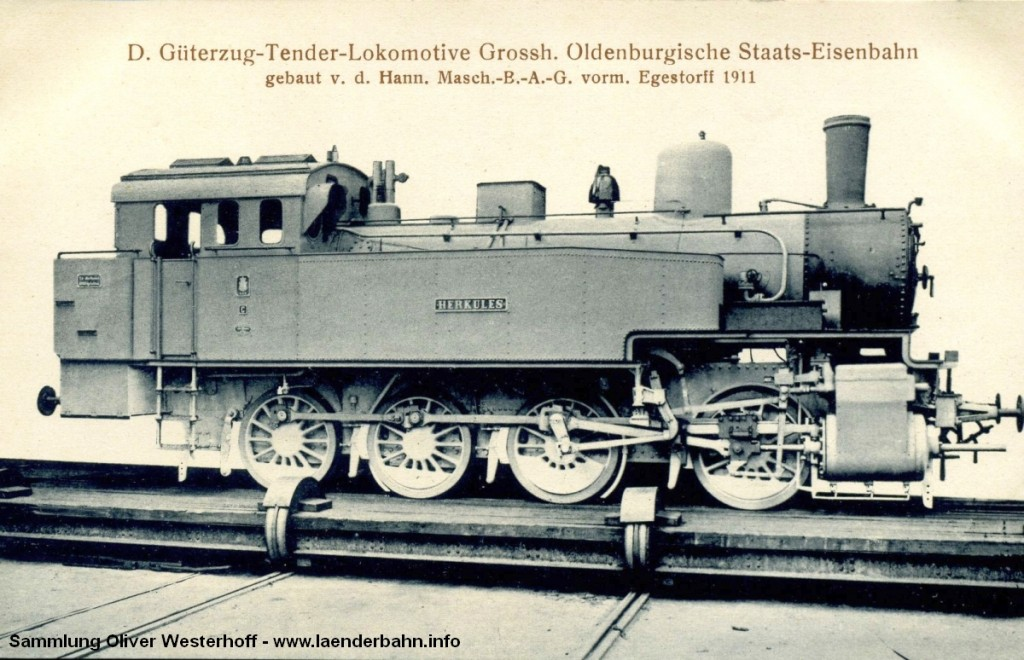 """T 13 Nr. 221 """"HERKULES"""" auf einer Ansichtskarte der Hanomag."""