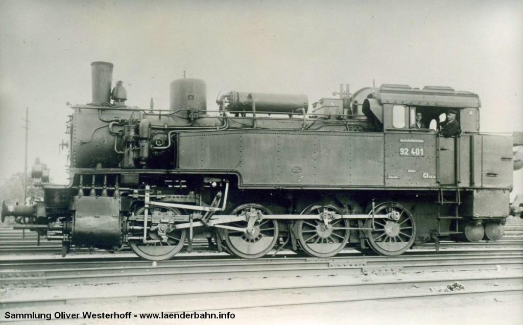 T 13.1 Nr. 286 mit der Reichsbahnnummer 92 401
