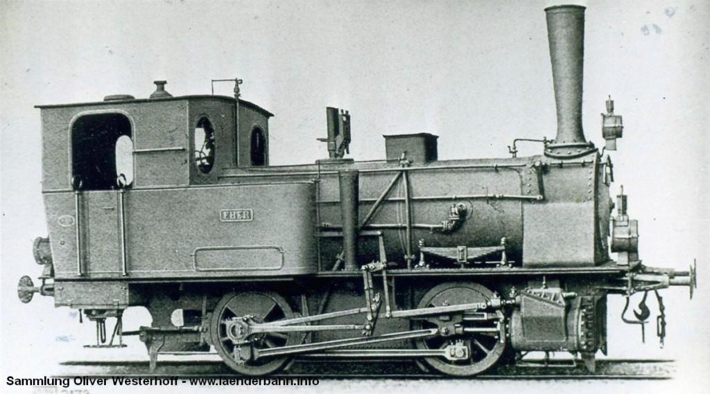 """Die Lokomotive Nr. 114 """"EBER"""", gebaut 1896 bei HANOMAG unter der Fabriknummer 2907"""