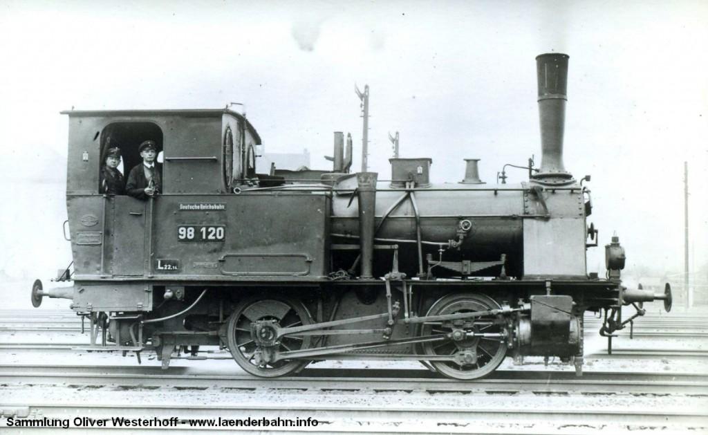 """T 2 Nr. 213 """"DACKEL"""", hier mit der Reichsbahnnummer 98 120."""