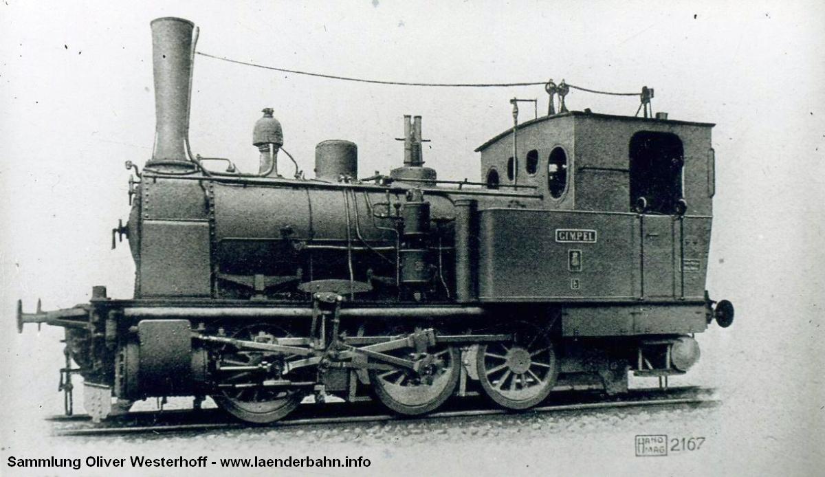 """Die Lokomotive Nr. 195 """"GIMPEL"""", gebaut 1909 bei HANOMAG unter der Fabriknummer 5415"""
