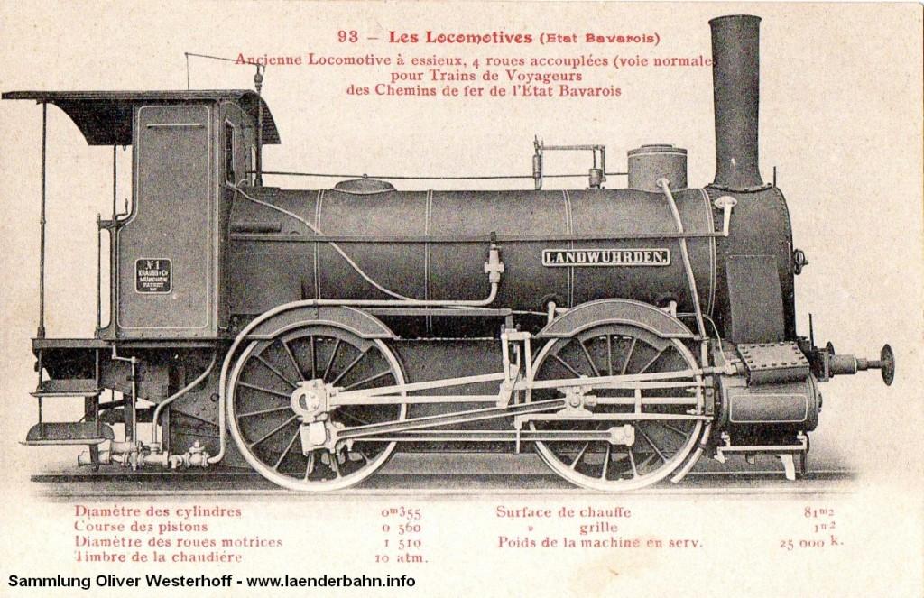 """Die Nr. 11 """"LANDWÜHRDEN"""", gebaut als erste lokomotive bei Krauss in München auf einer französischen Postkarte. Hier wird sie als fälschlicherweise als Lok der Bayrischen Staatsbahn ausgewiesen, was sich wohl auf den von dort stammenden Hersteller zurückführen lässt."""
