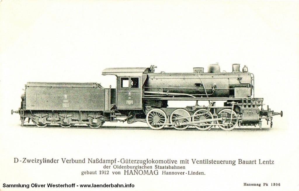 """Die G 7 Nr. 235 """"STEDINGEN"""" auf einer weiteren Ansichtskarte der Hanomag"""