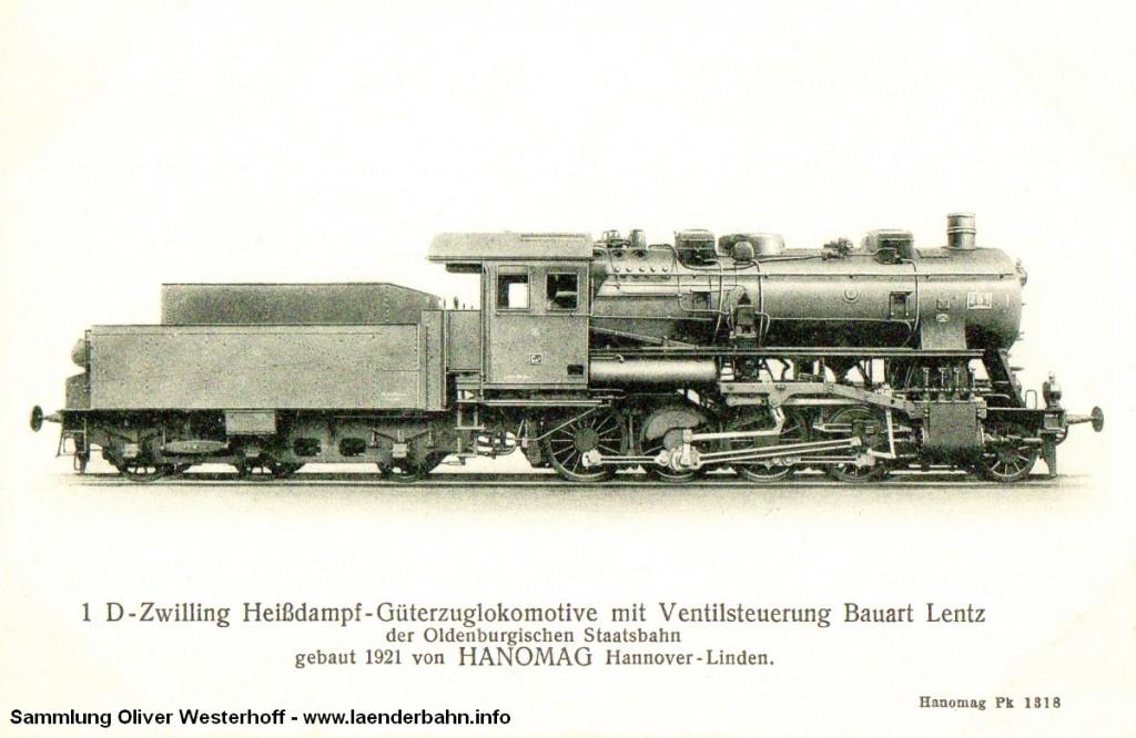 Die Lokomotive Nr. 281, gebaut 1921 bei HANOMAG unter der Fabriknummer 9751. Hier eine Ansichtskarte der Hanomag.