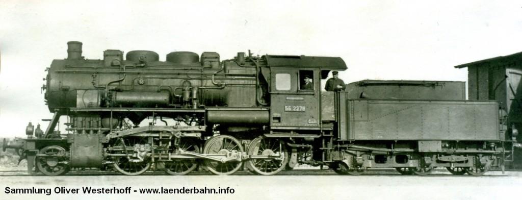 Die G 8.2 Nr. 283, hier bereits mit der Reichsbahnnummer 56 2278