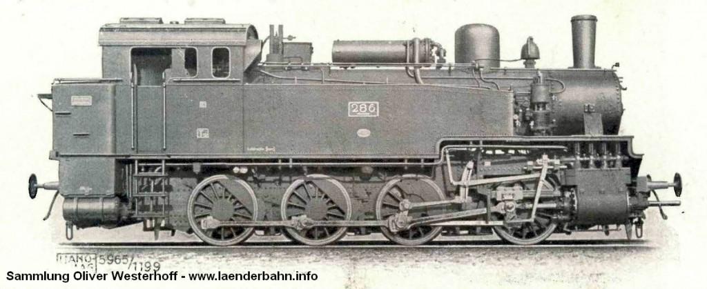Die Lokomotive Nr. 286, gebaut 1921 bei HANOMAG unter der Fabriknummer 9756.