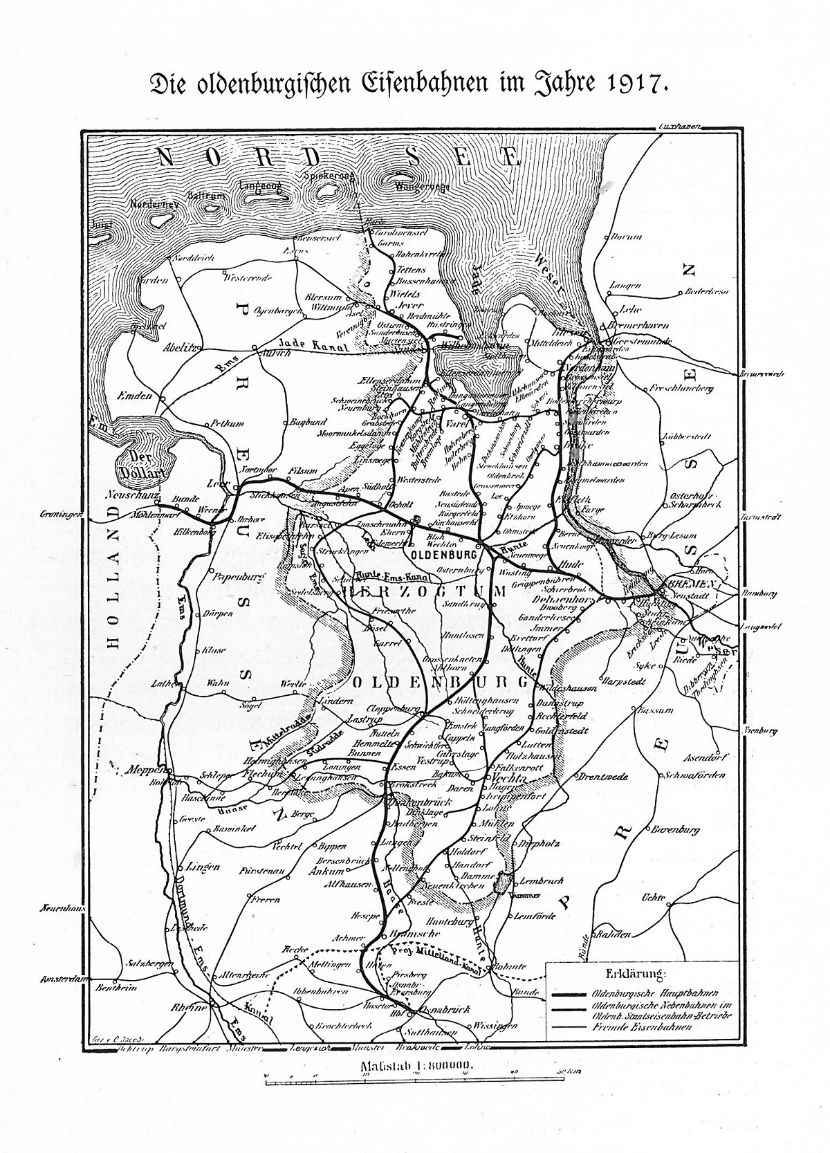 Streckenkarte der G.O.E. von 1917