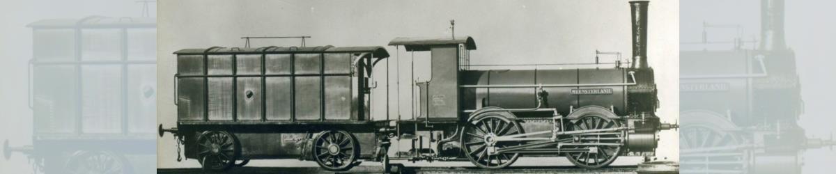 """Oldenburgische G 1: Die Lokomotive Nr. 8 """"MÜNSTERLAND"""" mit dem typischen gedeckten Torftender"""