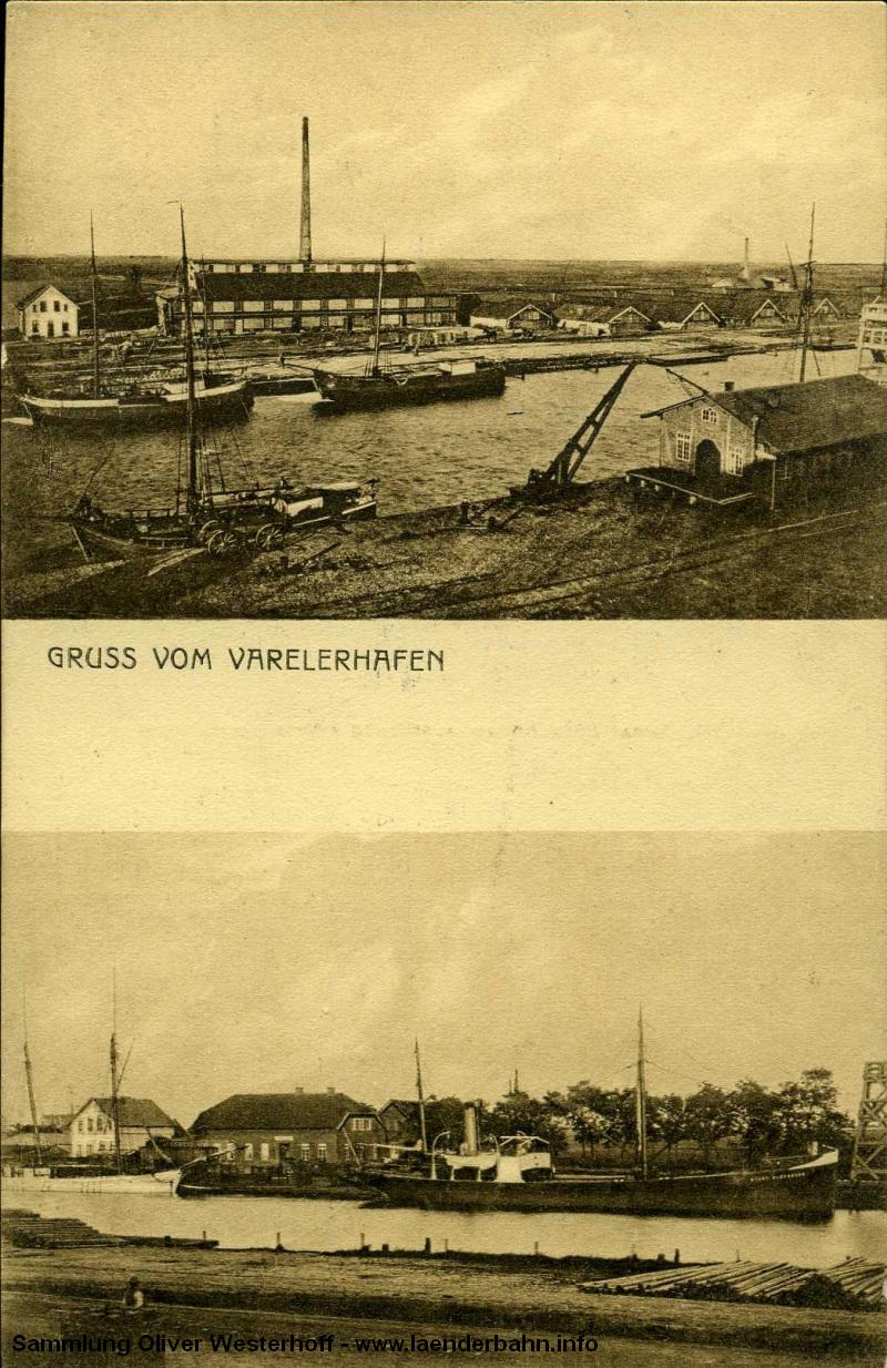 in Varelerhafen gab es kein eigenes Empfangsgebäude, die Gleise endeten am Kai und an Schuppen.