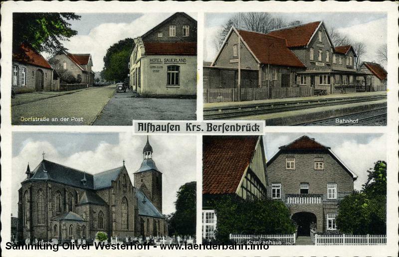 Ansicht mit Bahnhof Alfhausen aus den 1960er Jahren.