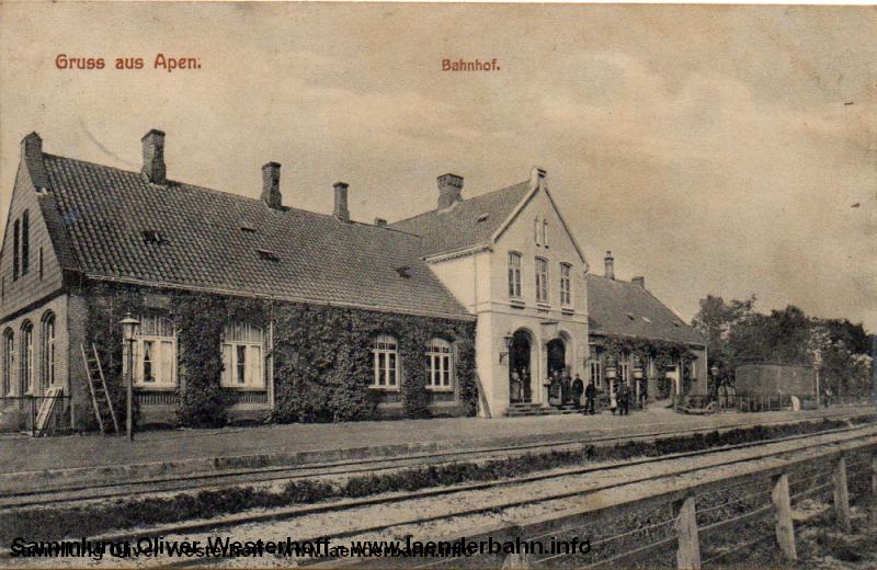 Bahnhof Apen auf einer Ansicht um 1900
