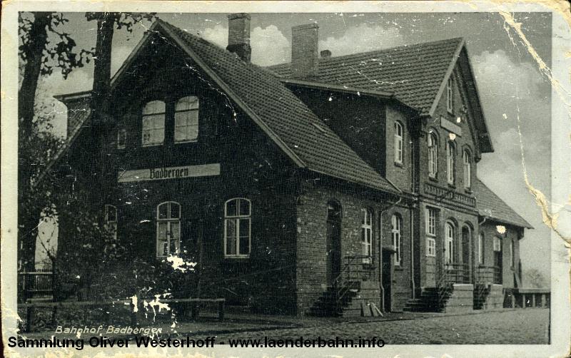Eine Ansicht des Bahnhofs Badbergen aus den 1930er Jahren.