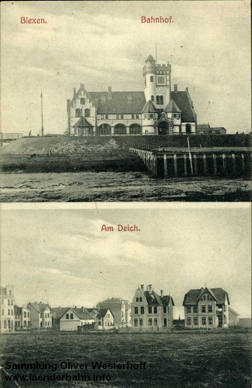 Der Bahnhof von Blexen am Anleger der Fähre nach Bremerhaven
