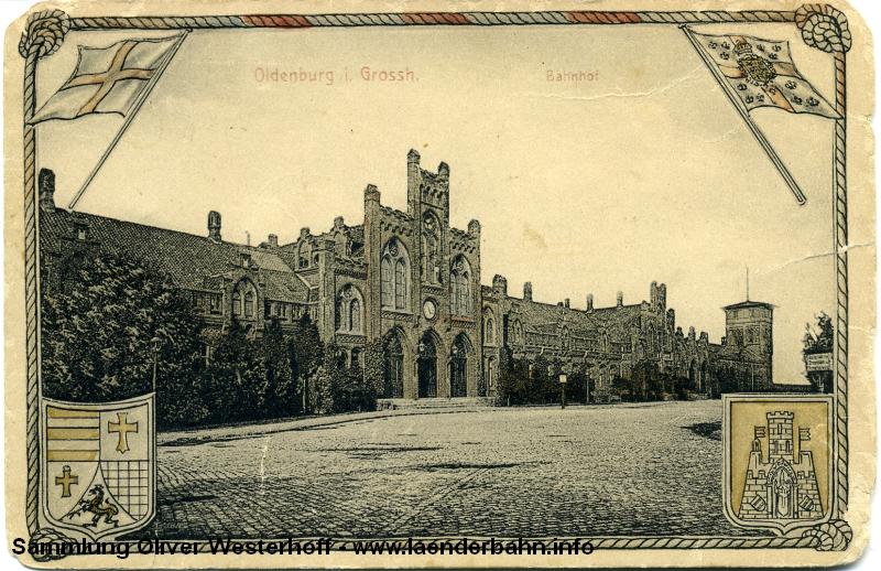 Der alte Centralbahnhof Oldenburg auf einer Ansichtskarte um 1900
