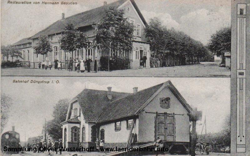 Bahnhof Düngstup mit einem Personenzug, geführt von einer oldenburgischen T 3, um 1910.