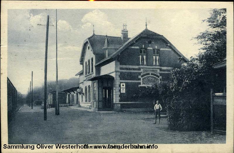 Auf Bahnhof Damme endete die G.O.E.-Strecke und führte weiter mit der Wittlager Kreisbahn nach Bohmte.
