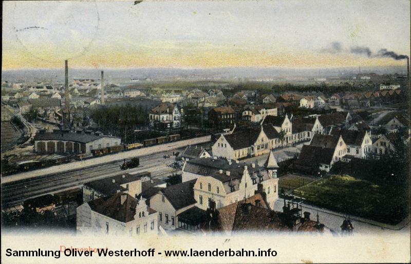 Ansicht auf den Bahnhof und einen Teil des Betriebswerkes in Delmenhorst um 1910