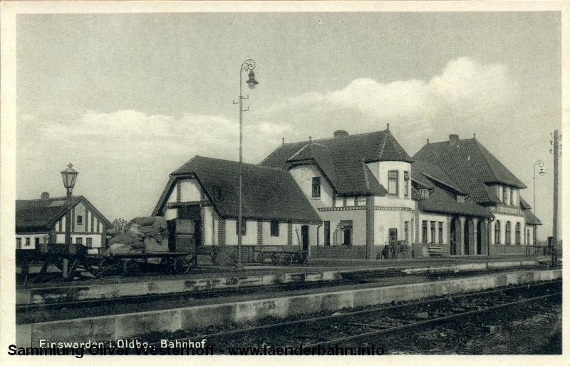 Bahnhof Einswarden in den 1920er Jahren, kurz vor der Endstation in Blexen.