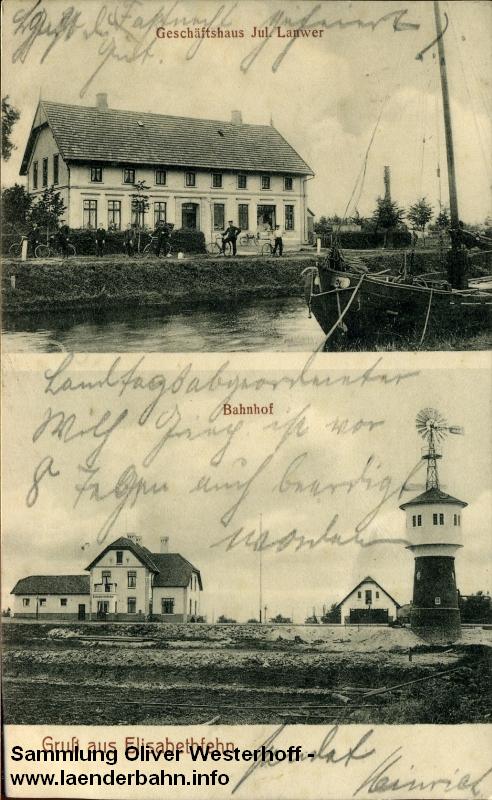 Bahnhof Elisabethfehn besaß eine Lokstation mit Wasserturm.