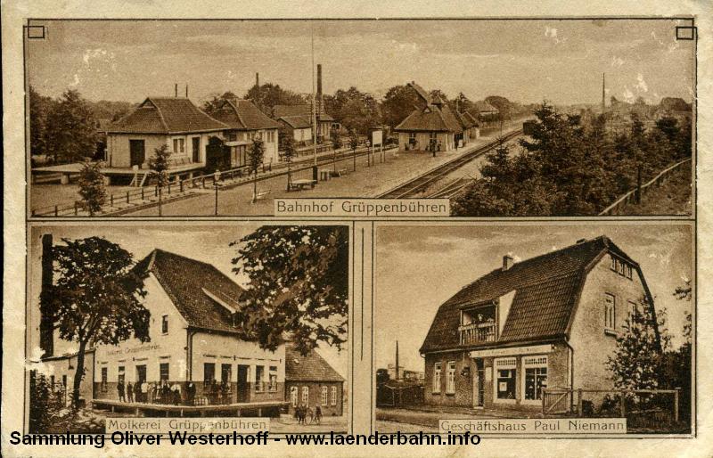 Der Bahnhof Grüppenbühren auf einer Ansicht um 1910