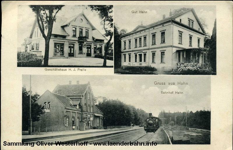 Ansicht vom Bahnhof Hahn um 1910.