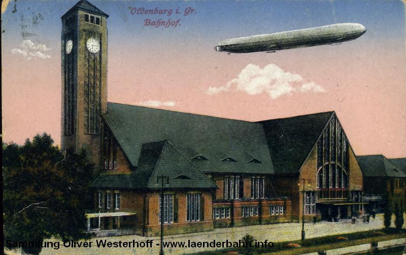 Das neue Bahnhofsgebäude in Oldenburg um 1916