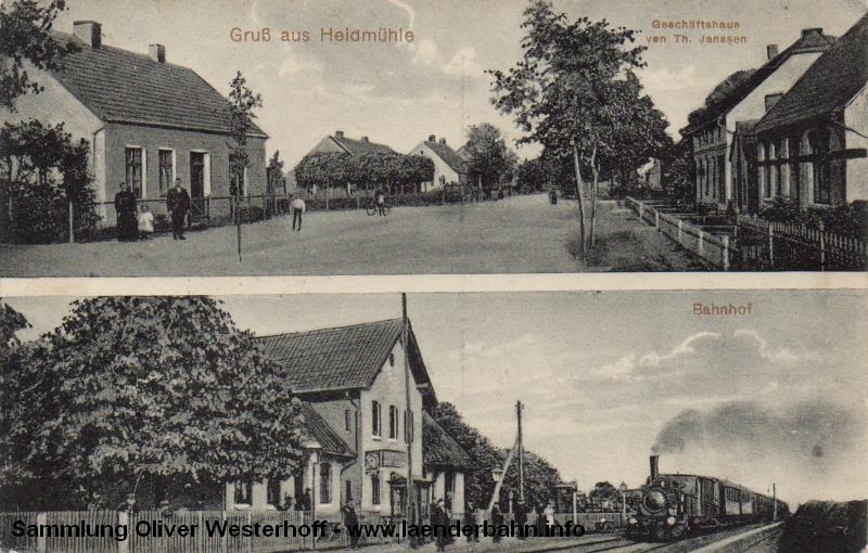 Bahnhof Heidmühle mit einem Personenzug um 1910.