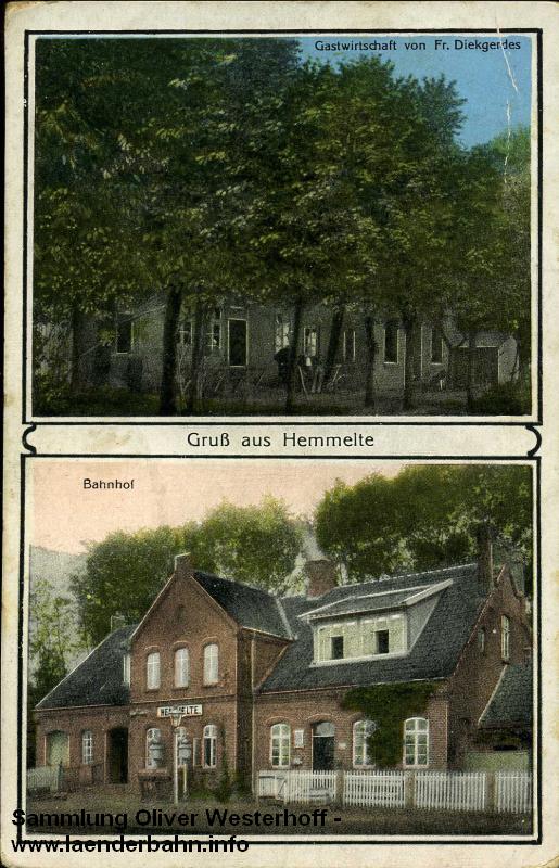 Bahnhof Hemmelte auf einer Ansicht um 1910 herum, die Bahnsteigsperre ist bereits eingeführt.