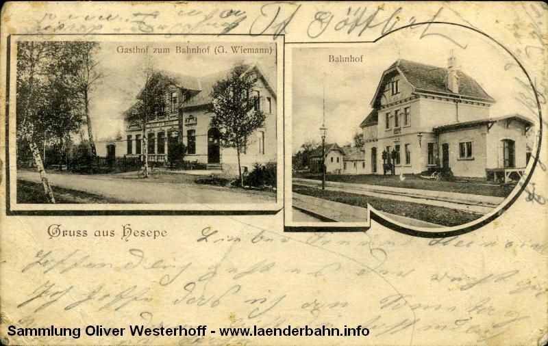 Auf Bahnhof Hesepe mündete die Schusterbahn von Delmenhorst ausgehend in die Südbahn Oldenburg – Osnabrück.