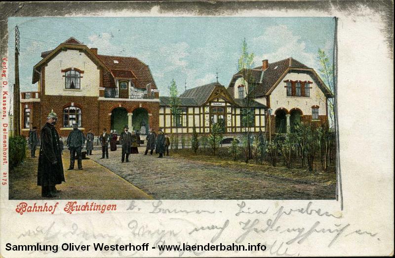 Der Bahnhof Huchting auf einer Ansicht um 1900