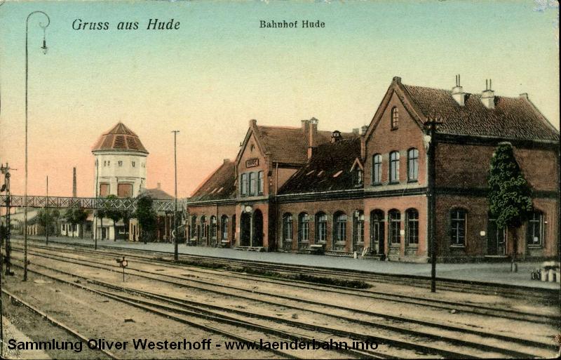 Ansicht des Bahnhofs Hude um 1910.