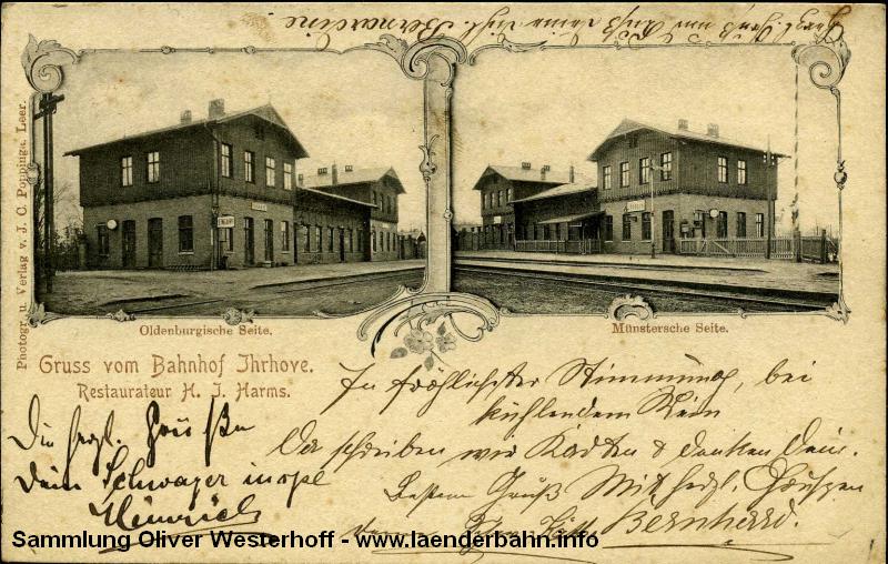 Der Bahnhof Ihrhove wurde von der K.P.E.V. und der G.O.E. gemeinsam genutzt - jede Verwaltung hatte ihre eigene Seite.