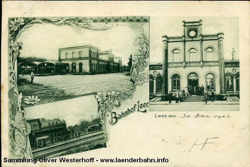 Verschiedene Ansichten des Bahnhofs Leer um 1900 herum