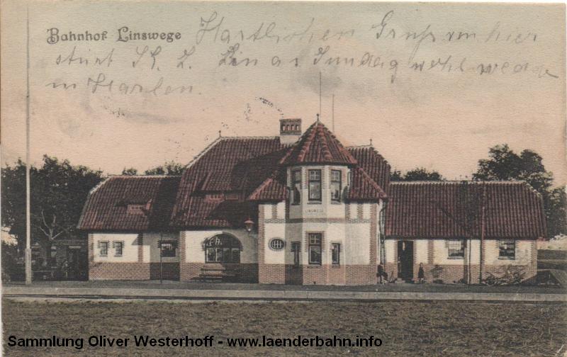 Der Bahnhof Linswege auf einer schönen Ansicht um 1910.