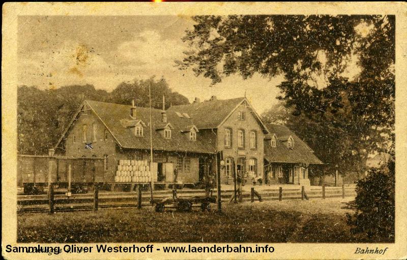 Der Bahnhof Löningen an der Strecke nach Lewinghausen, wo diese an die Meppen-Haselünner Eisenbahn anschloß.