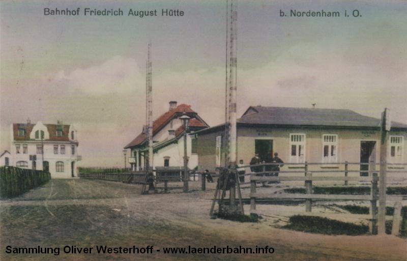 Der Haltepunkt Friedrich August Hütte liegt in der Nähe der Zink- und Bleiverarbeitenden gleichnamigen Fabrik.