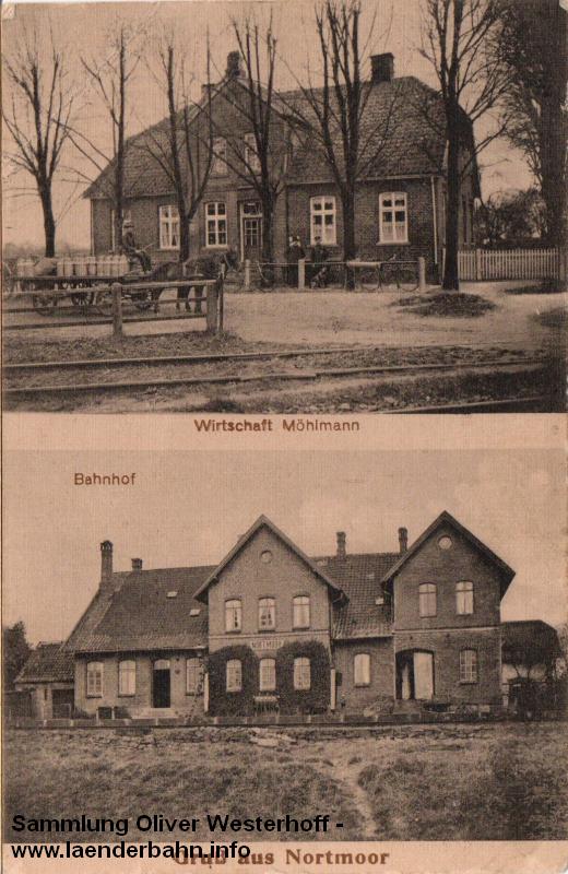 Der Bahnhof Nortmoor auf einer Ansicht aus den 1930er Jahren
