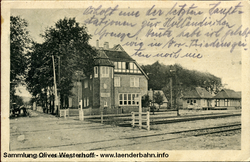 Das neue Empfangsgebäude von Ocholt um 1915 herum